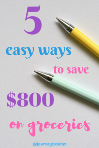 Save money on groceries with these 6 easy tricks. Keep yourself on a grocery budget without printing coupons. Frugal living and families tips. #savemoney #budget #easy #groceries #momlife